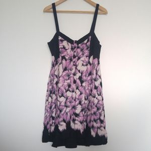 UO Kimchi Blue - Black Purple & White Hi-Lo Dress
